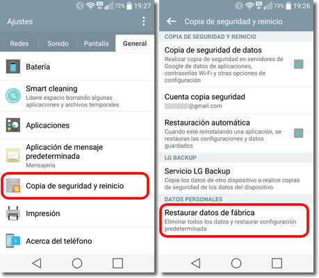 resetear Android